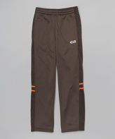 CB Sports Charcoal & Orange Stripe Track Pants - Tween