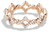David Yurman Quatrefoil Stacking Ring with Diamonds in Rose Gold