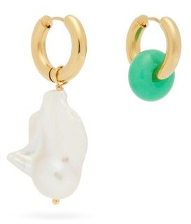 Timeless Pearly Mismatched Pearl & Gold-plated Hoop Earrings - Gold