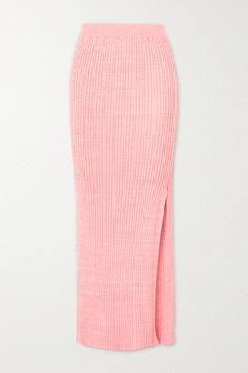 ANNA QUAN - Ruby Ribbed Melange Cotton Midi Skirt - Pink