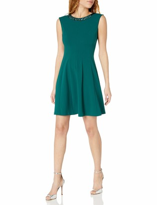 Sandra Darren Women's 1 Pc Extended Solid Crepe Fit & Flare Necklace Dress