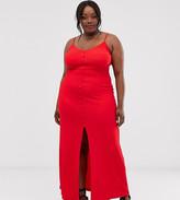 Asos DESIGN Curve textured button through cami maxi dress