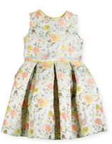 Oscar de la Renta Jacquard Peony Party Dress, Size 2-14