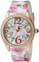 Betsey Johnson Women's Quartz Metal and Silicone Casual Watch, Color:Pink (Model: BJ00048-180)