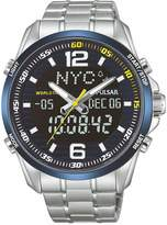 Pulsar Pulsar Men's duo display analogue and digital world time watch with a stainless steel case and bracelet featuring a blue dial