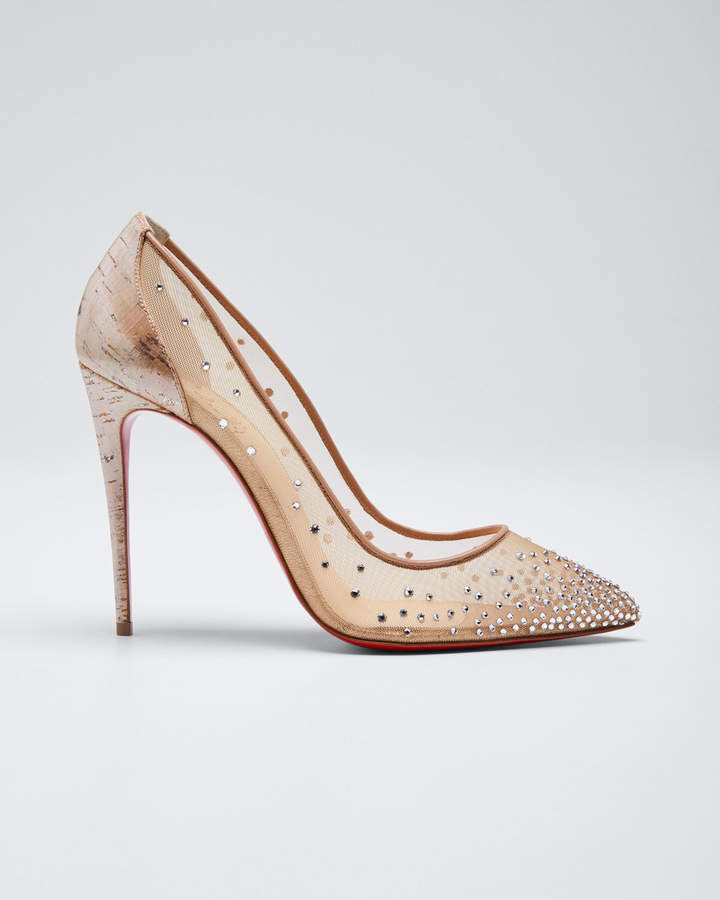 promo code 05793 51731 Follies Strass 100mm Red Sole Pumps with Cork