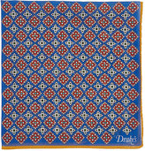 Drakes Drake's Men's Medallion-Pattern Pocket Square-BLUE