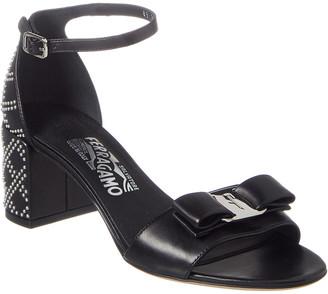 Salvatore Ferragamo Gavina Studded Vara Bow Leather Sandal