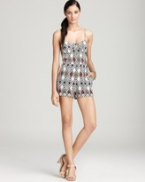Twelfth Street by Cynthia Vincent Sleeveless Printed Bra Cup Romper