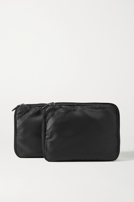 Paravel Set Of Two Pvc-trimmed Shell Packing Cubes - Black
