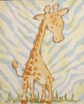 The Well Appointed House Renditions by Reesa Hand Painted Safari Giraffe Canvas-Available in Two Different Colors