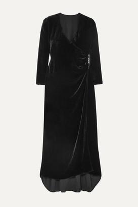 Olivia von Halle Maleficent Shillingford Velvet Wrap Maxi Dress - Black