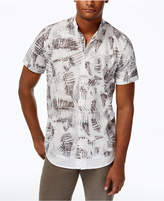William Rast Men's Leaf-Print Cotton Shirt