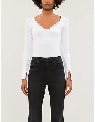 Free People Bit of Lace lace-trim stretch-cotton top