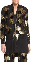 ADAM by Adam Lippes Wisteria-Jacquard Bomber Jacket, Black/Gold