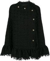 MSGM frayed tweed poncho