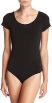 Haute Hippie Cat's Cradle Laced-Back Jersey Bodysuit, Black
