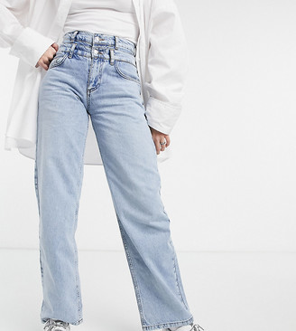 Reclaimed Vintage Inspired The '82 dad jeans with double waistband in blue