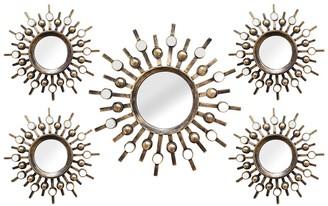 Stratton Home Bronze Burst Wall Mirrors - Set of 5