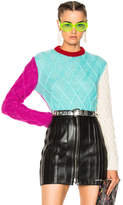 Fausto Puglisi Color Block Crop Knit Sweater
