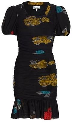 Ganni Printed Mesh Puff-Sleeve Mini Dress