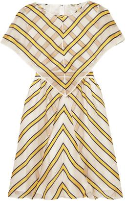 Fendi Cape-effect Cutout Striped Silk-blend Organza Mini Dress