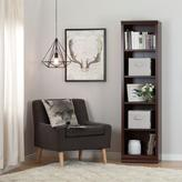 South Shore Morgan 5-Shelf Narrow Bookcase with 2 Canvas Storage Baskets in Royal Cherry