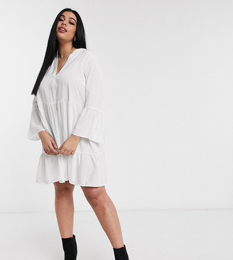 Only Curve smock dress with v neck in white