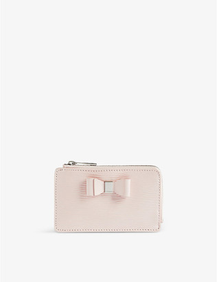 Ted Baker Blueb bow-detail zipped leather card holder