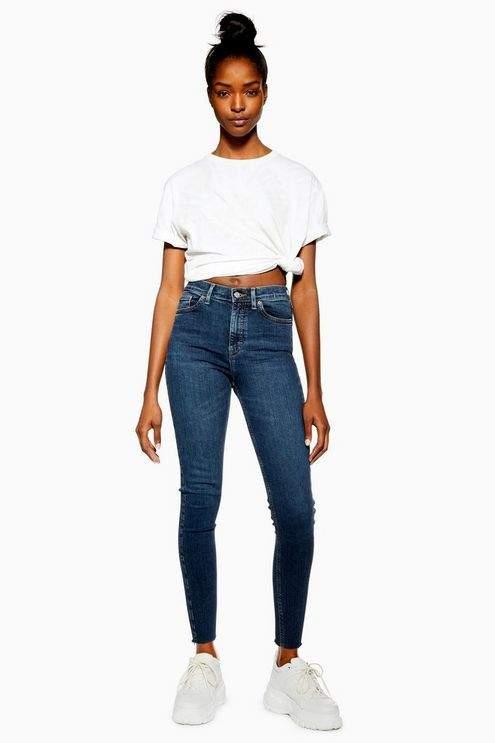 Topshop Womens Vintage Indigo Raw Hem Jamie Jeans