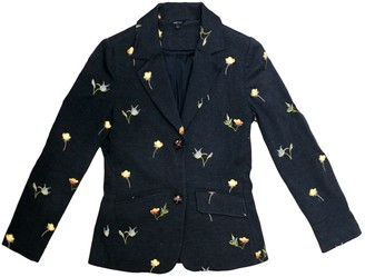 Floral Embroidered Jacket - Black