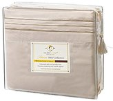 Clara Clark Premier 1800 Collection 4pc Bed Sheet Set - Full (Double) Size, Beige Cream,