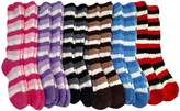 12 Pairs Of excell Womens Striped Butter Soft Fuzzy Knee High Socks