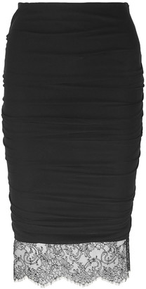 Tom Ford Lace-trimmed Ruched Stretch-crepe Skirt