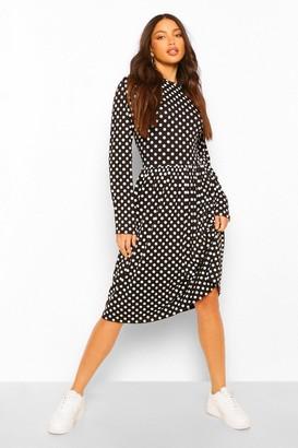 boohoo Tall Polka Dot Long Sleeve Smock Midi Dress