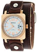 Nemesis #BLBB062W Men's Rose Gold Tone Square Premium Wide Leather Cuff Band Watch