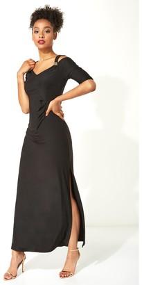 M&Co Roman Originals cold shoulder diamante trim maxi dress
