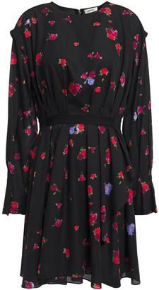 Jason Wu Collection Grosgrain-trimmed Pleated Floral-print Crepe De Chine Mini Dress