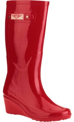 Forever Young Women's Solid Wedge Tall Rain Boot