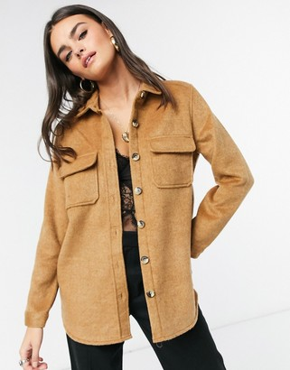 Object textured shacket in camel