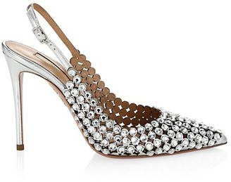 Aquazzura Tequila Crystal-Embellished Leather Slingback Pumps
