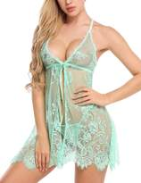 Avidlove Women's Sexy Pajamas Floral Lace Babydoll Lingerie with G-string