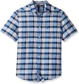 Nautica Men's Short Sleeve Classic Fit Linen Blend Plaid Button Down Shirt