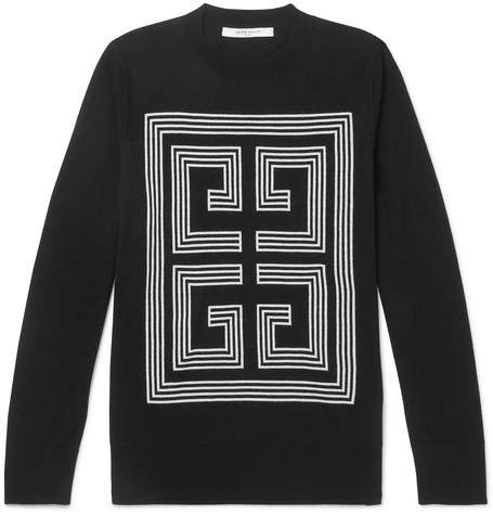 Givenchy Slim-Fit Logo-Intarsia Wool Sweater