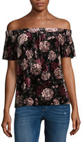 BY AND BY by&by Short Sleeve Boat Neck Velvet Floral Blouse-Juniors