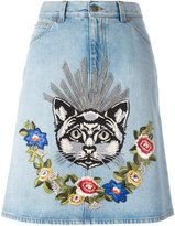 Gucci embroidered denim skirt