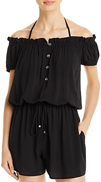 Kate Spade Ruffled Off-The-Shoulder Romper Cover-Up
