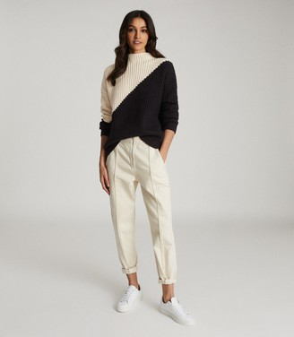 Reiss Liz - Colour Block Knitted Jumper in Black/Ivory