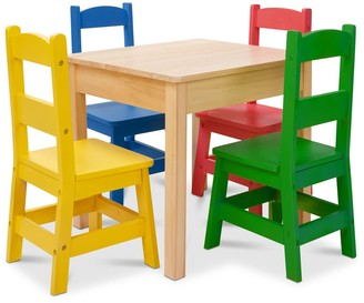 Melissa & Doug Kids Furniture Wooden Table and 4 Chairs - Primary Colors