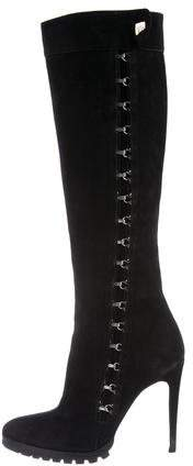 Gianni Versace Suede Hook-And-Eye Boots